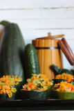 Zucchini stuffed with vegetables dish Stock Photography