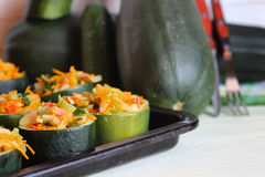 Zucchini stuffed with vegetables dish Royalty Free Stock Images