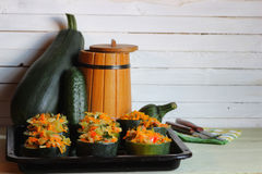 Zucchini stuffed with vegetables dish Stock Photo