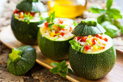 Zucchini stuffed with vegetables Stock Photo
