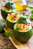 Zucchini stuffed with vegetables Stock Photography