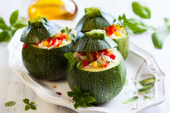 Zucchini stuffed with vegetables Royalty Free Stock Image