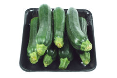 Zucchini on Styrofoam Tray Royalty Free Stock Images