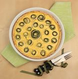 Zucchini tart from above Royalty Free Stock Photos