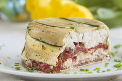 Zucchini Terrine. Terrine with zucchini, cheese and pepper Stock Photos