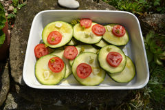 Zucchini and tomaetoes Royalty Free Stock Images