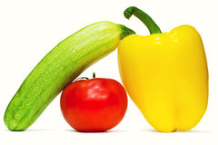 Zucchini, tomato, pepper. S  on white background Royalty Free Stock Image