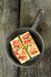 Zucchini. With tomatoes and cheese in a pan Royalty Free Stock Image