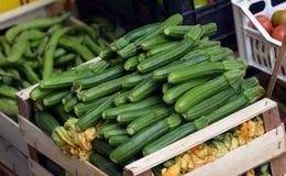 Zucchini in una scatola di legno Immagine Stock