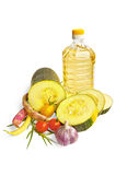 Zucchini with vegetable and oil Stock Photos
