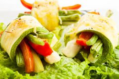Zucchini vegetable rolls Royalty Free Stock Photo