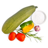 Zucchini with vegetables and salt Stock Photography