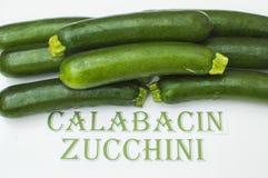Zucchini on white background,. Zucchini, Spanish and English Royalty Free Stock Images