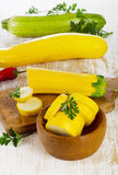 Zucchini on  wooden table Royalty Free Stock Photos