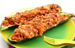Zucchini with yellow fork Stock Photography