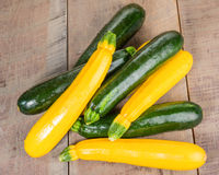 Zucchini and yellow squash on table Royalty Free Stock Image