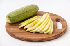 Zucchini and zucchini cut into sheets for frying Stock Images