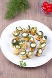 Zucchinin arrostito con feta Immagini Stock Libere da Diritti
