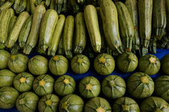 Zucchinis at the market Stock Photo