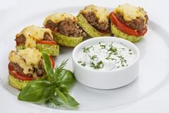 Zucchinis stuffed with meat and cheese royalty free stock images