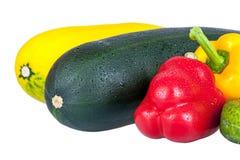 Zucchinizucchini och söt peppar Fotografering för Bildbyråer