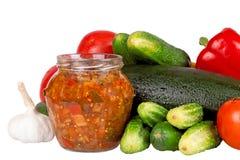Zucchinizucchini, söt peppar och tomater som isoleras på vit Royaltyfria Bilder