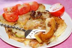 Zucchino appetitoso del giardino della frittura con il condimento del aglio Fotografia Stock Libera da Diritti