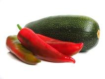 Zucchino con pepe rosso Fotografia Stock