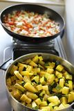 Zuchini. Costa Rica rice and beans in a pan besides a zuchini pan stock images
