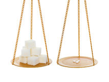 Zucker gegen Süßstoff Stockfotos