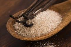 Zucker- und Vanillebohnen stockfotos