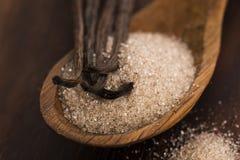 Zucker- und Vanillebohnen stockbilder