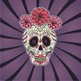 Zuckern Sie Schädel calavera Catrina-Vektorillustration für Tag der Toten Stockbild
