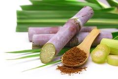 Zuckerrohr mit braunem Zucker Lizenzfreie Stockbilder