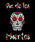 Zuckerschädel calavera Mexikanischer Tag der toten Vektorillustration Grußkarte Dia de Los Muertos, Fahne Stockbilder