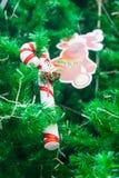 Zuckerstange mit Mini-Sankt und Renverzierung auf Weihnachtsbaum Stockbild