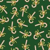 Zuckerstange-nahtloses Weihnachtsvektormuster Wiederholen des Hintergrundes mit Handgezogenen Zuckerstangen mit glänzenden Goldfo lizenzfreie abbildung