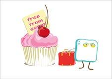 Zuckerwürfel geht trauriges, von einem rosa kleinen Kuchen, mit seinem Koffer weg Lizenzfreies Stockbild