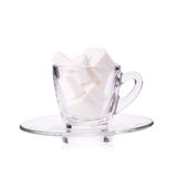 Zuckerwürfel in der Kaffeetasse Stockbild