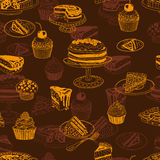 Zueco inconsútil del vector con los pasteles del partido y Fotos de archivo