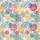 Zueco tropical de las flores del vector diseño inconsútil con los elementos botánicos del gorgeus, hibisco, palma, ave del paraís stock de ilustración