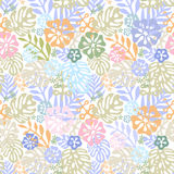 Zueco tropical de las flores del vector diseño inconsútil con los elementos botánicos del gorgeus, hibisco, palma, ave del paraís Imagen de archivo