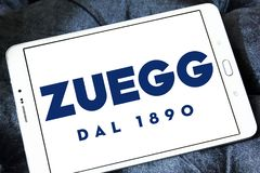 Zuegg company logo. Logo of Zuegg company on samsung tablet. Zuegg is a multinational company based in Verona specialized in fruit processing Stock Image
