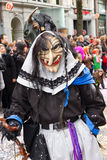 ZueriCarneval Fasnacht Zurich, Switzerland. ZURICH - FEBRUARY 26: Participants in costumes perform a street procession of ZueriCarneval Fasnacht February 26 royalty free stock photo