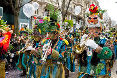 ZueriCarneval Fasnacht Zurich, Switzerland. ZURICH - FEBRUARY 26: Participants in costumes perform a street procession of ZueriCarneval Fasnacht February 26 royalty free stock photos