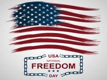 Zuerst vom nationalen Freiheits-Tag Februars in den Vereinigten Staaten Illustration mit Amerikaner Flagge und defekte Ketten stock abbildung