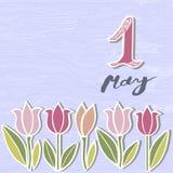 Zuerst von Mai-Text lokalisiert auf Hintergrund mit Blumen vektor abbildung