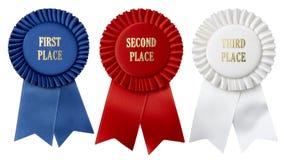 Zuerst zweites, dritte Platzfarbbänder Lizenzfreie Stockbilder