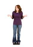 Zufällig: Frau auf der Skala frustriert durch Diät lizenzfreie stockbilder