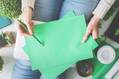 Zufällige Dame mit Grünbuchblättern Stockbilder